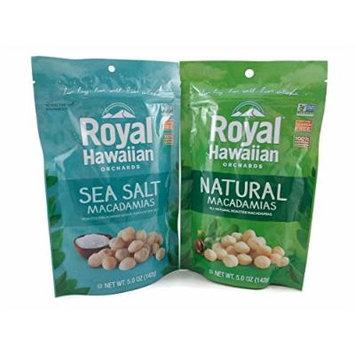 Royal Hawaiian Orchards Macadamia Nut Healthy Snack Variety Bundle: One 5 oz. Bag of Sea Salt, One 5 oz. Bag of Natural
