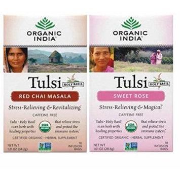 Organic India Tulsi Organic Non-GMO Caffeine-Free Tea 2 Flavor Variety Bundle: (1) Organic Red Chai Masala Tulsi Tea, and (1) Organic Sweet Rose Tulsi Tea, 1.01-1.21 Oz. Ea.