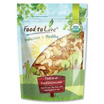 Food to Live Healthy Mix of Certified Organic Raw Nuts (Cashews, Brazil Nuts, Walnuts, Almonds) (1 Pound)