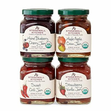 Stonewall Kitchen Our Organic Jam Collection Includes 1 Maple Apple Onion Jam, 1 Sweet Chili Jam, 1 Strawberry Vanilla Jam and, 1 Maine Blueberry Cherry Jam