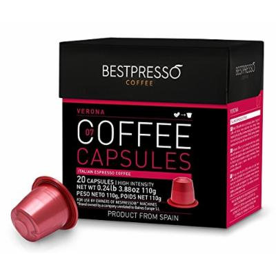 Nespresso Compatible Gourmet Coffee Capsules -120 Pod Verona Blend (High Intensity) - For Original Line Nespresso Machine -Bestpresso Brand - Certified Genuine Espresso - 60 Days Guarantee