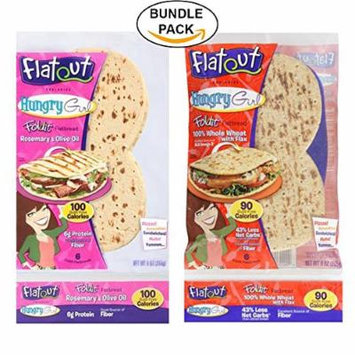 Variety Combo Pack: Flatout Hungry Girl Foldit Flatbread, 100% Whole Wheat with Flax and Rosemary and Olive Oil