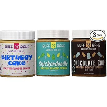 Buff Bake Nut Butter Variety (Snickerdoodle / Birthday Cake / Chocolate Chip) 13 Oz (3 Pack)
