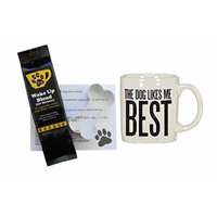 Dog Likes Me Best Mug with Lazy Dog Wake Up Blend Coffee (for Humans), Dog Bone Recipe and Cookie Cutter Bundle Gift Set (4 Items)