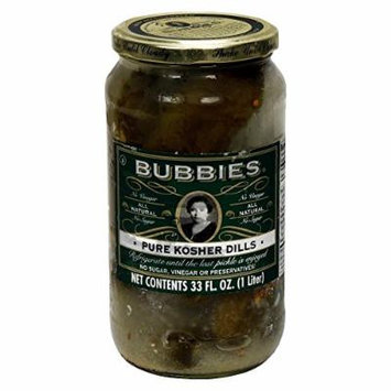 Bubbies Pure Kosher Dill Pickle 33.0 OZ(Pack of 12)