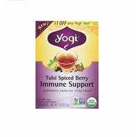 Yogi Tea , Tulsi Spiced berry Immune Support, 16 Teabags , (Pack of 3)