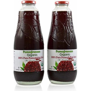 100% Pomegranate Juice – 2 Pack - 33.8 fl oz – USDA Organic Certified - Glass Bottle - No Sugar Added - No Preservatives - Squeezed From Fresh Pomegranates