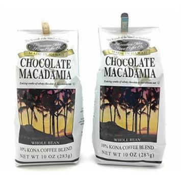 Hawaiian Isles 10% Kona Coffee Blend Gourmet Coffee, Chocolate Macadamia Nut, Whole Bean (2 Pack)