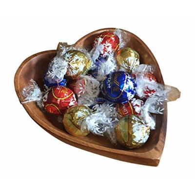 Lindt Lindor 6 oz Assorted Chocolate Truffles with Acacia Wood Heart Bowl Gift Set