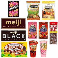 Meiji Assorted Japanese Snacks chocolates, Candies and Calbee - Pack of 11