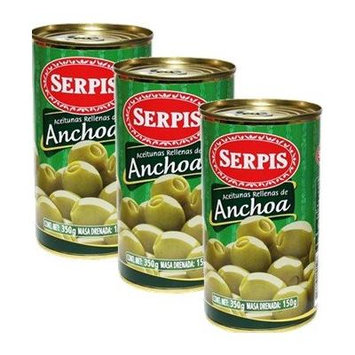 Serpis - Green Olives Stuffed with Anchovies. 12.34 oz Pack of 3