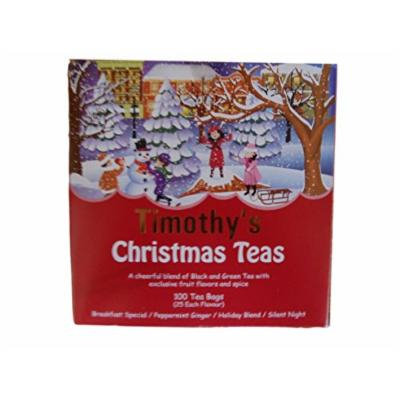 Timothy's Christmas Teas Breakfast Special Peppermint Silent Night Red Box