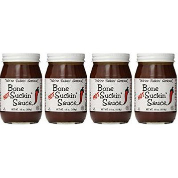 Bone Suckin' Fords Gourmet Foods Hot BBQ Sauce, 16 Ounce Pack of 4