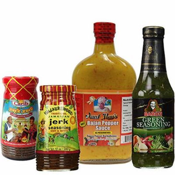 Caribbean Jerk Seasoning and Hot Pepper Sauce Variety 4 Piece Combo from Walkerswood Aunt May's Baron and Carib