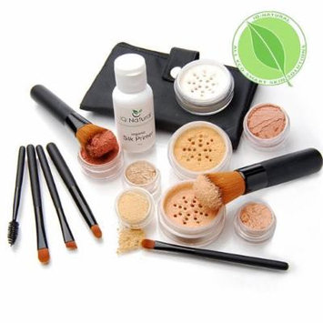 Premium 16 piece Large Mineral Makeup Kit - Concealer, Bronzer, Eye Shadow, Setting Powder, 2 Full Size Mineral Foundation, Primer - Create A Natural Flawless Look
