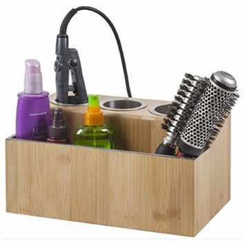 G.U.S. Hair Tools Holder for Blow Dryer, Flat Iron, Curling Iron, Countertop Hair Styling Station, Hair Appliance Stand and Styling Tool Organizer, Bamboo