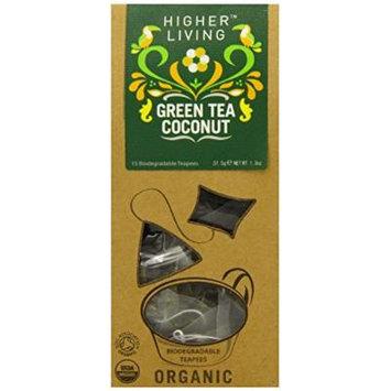 Higher Living Green Tea Coconut Pyramid Tea 15 Tea Bags