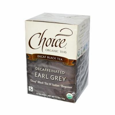 Choice Organic Teas Decaffeinated Earl Grey Tea - 16 Tea Bags - Case of 6