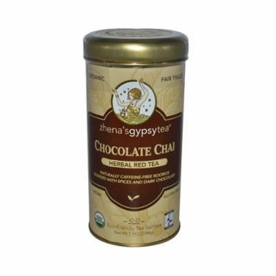 Zhena's Gypsy Tea Chocolate Chai Herbal Red Tea - Caffeine Free - Case Of 6 - 22 Bags