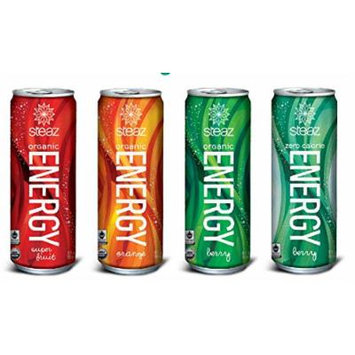 16 Pack - Steaz Organic Energy - Variety: Berry, Orange, Super Fruit, Low Calorie Berry - 12oz.