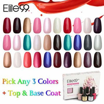 Elite99 UV LED Color Nail Art (Any 3 Colors) with Top Base Coat
