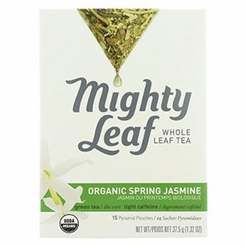 Mighty Leaf Tea, Organic Spring Jasmine, 15-Count Whole Leaf Pouches (Pack of 6) (1.32 oz each)