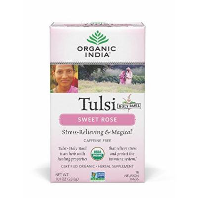 ORGANIC INDIA Tulsi Sweet Rose Tea - Delicious Sweet Rose and Holy Basil Blend Rich in Antioxidants - Caffeine Free, 100% Certified Organic, Non-GMO, and Fair Trade, 18 Tea Bags (6 Pack)
