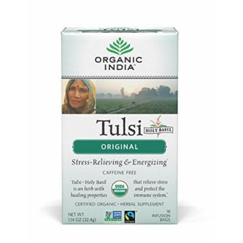 ORGANIC INDIA Tulsi Tea Original - Delicious Holy Basil Blend Rich in Antioxidants - 100% Certified Organic, Non-GMO, and Fair Trade, 18 Tea Bags (6 Pack)