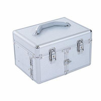 Soozier Portable Lockable Extendable Tray Cosmetic Makeup Case with Mirror - Silver