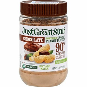 Just Great Stuff Peanut Butter - Powdered Organic - Chocolate - 6.35 oz - (Pack of 3) - 95%+ Organic - Gluten Free - Dairy Free - Yeast Free - Wheat Free-Vegan