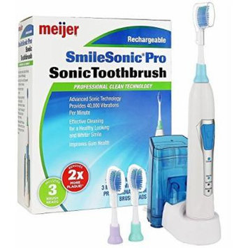 Meijer Sonic Pro Rechargeable Electric Toothbrush, 3 Brushing Modes, 2 Minute Timer