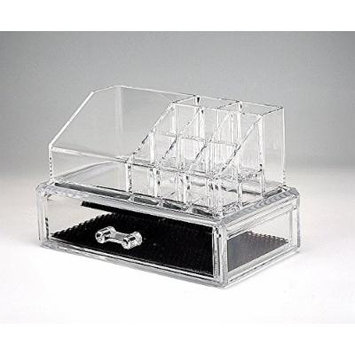 Beauty Acrylic Clear Cosmetic Holder Large 1 Drawer Jewerly Chest or Make up Case Lipstick Liner Brush Holder Organizer 1062