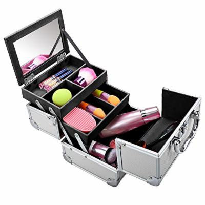 Homdox Mini Makeup Train Case Aluminum Cosmetic Box With Mirror + 2 Keys Jewelry Box Cosmetic Organizer (Silver Black) 7.8 x 6.05 x 6.05inch