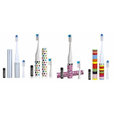Violife Slim Portable + Sonic Toothbrush Set, Designs As Pictured, 4 count, (Silver, Confetti, Mosaic, Candy Stripe