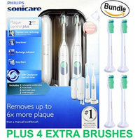Philips Sonicare Plaque Control Plus Rechargeable Toothbrush HX6254/81 Twin Pack (2 Rechargeable Toothbrushes, 4 Brush Heads, 2 travel cases, & 2 Chargers) PLUS 4-Pk Sonimart Toothbrush Heads (BUNDLE)