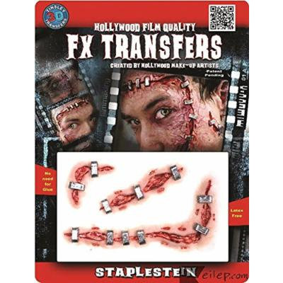 Tinsley Transfers Staplestein 3pc Makeup FX Transfers Red/Beige/Silver