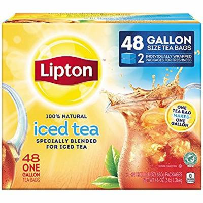 Lipton Iced Tea; 48 One Gallon Size Tea Bags; New;