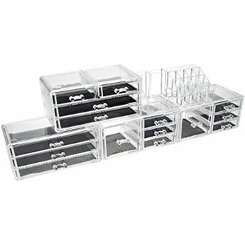 Unique Home CB-9415+9439+9439+9446 Acrylic Jewelry & Cosmetic Storage Makeup Organizer, 5 Piece Set
