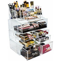Sorbus Acrylic Cosmetics Makeup and Jewelry Storage Case Display Sets – Interlocking Drawers to Create Your Own Specially Designed Makeup Counter – Stackable and Interchangeable (Clear)
