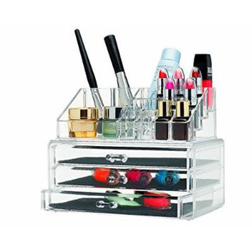 Unique Home Acrylic Jewelry & Cosmetic Storage Makeup Organizer, 3 Drawer Set