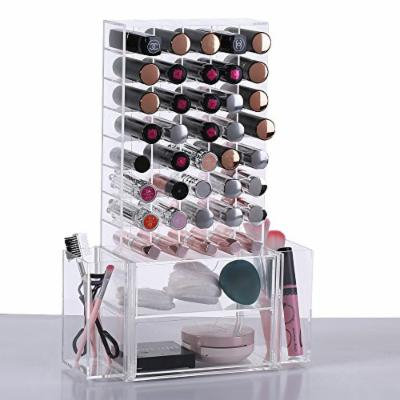 Ikee Design All in 1 Clear Premium Acrylic Lipstick Organizer Makeup Brush Holder for Lipstick Cosmetics With Removable Side Compartment