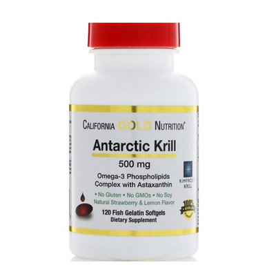 California Gold Nutrition, Antarctic Krill Oil, with Astaxanthin, RIMFROST, Natural Strawberry & Lemon Flavor, 500 mg, 120 Fish Gelatin Softgels [Potency : 500 mg]