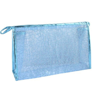 Unique Bargains Women Light Blue Faux Leather Frame Stone Block Pattern Cosmetic Makeup Bag Pouch