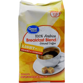 Ims International Marketing Sy Great Value Breakfast Blend Ground Coffee, Light Roasted, 32 oz