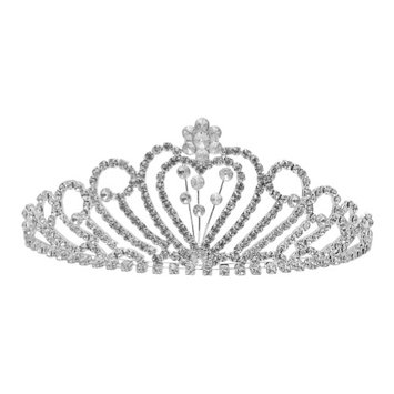 Futuron Girls Silver Clear Flower Heart Shape Rhinestone Tiara Headpiece