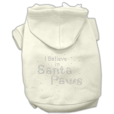 Mirage Pet Products 542511 XSCR I Believe in Santa Paws Hoodie Cream XS 8
