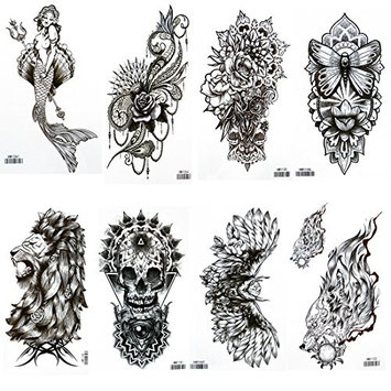 HairPhocas 8 Sheets Mermaid Temporary Waterproof Tattoo Stickers Body Art Flower Animals Fake Tattoos for Women