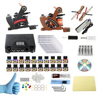 WORMHOLE TATTOO Complete Starter Tattoo Kit 2 Machine Gun 10 Color Inks Dual double Power Supply CD011