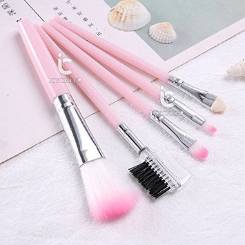 ICYCHEER Travel Size Makeup Brushes Set Pink 5pcs Blush Eyeshadow Lip Brush Tool Cosmetic Beauty Kit