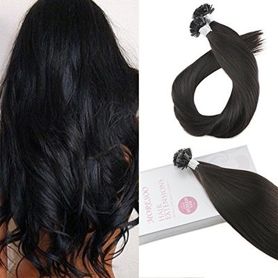 Moresoo 22 Inch Hair Extensions Flat Tip Human Hair Keratin Extensions Pro Bonded Hair Extensions Color #1B Off Black Remy Human Hair Extensions 1G/1S 50G